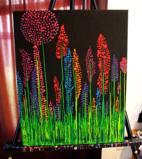 Hot Glue Gun Melted Crayon Canvas Wall Art