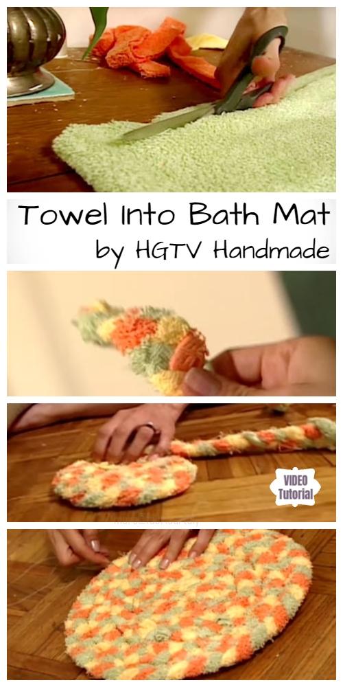 DIY Recycled Bath Towel Rug Tutorial (Video)