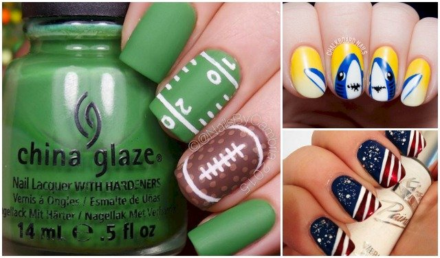 12 super bowl nail art designs prinsesfo Image collections