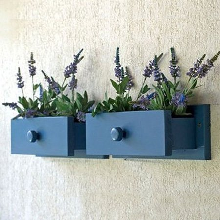 15 Creative Ways to Recycle Your Old Dresser Drawers-Wall Mounted Drawer Planter