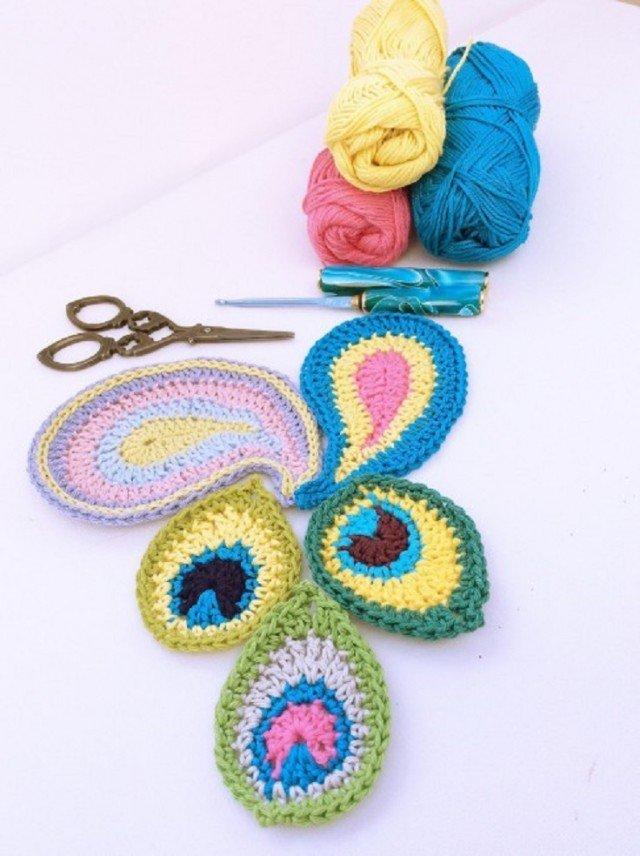 Crochet Peacock Motif Free Pattern