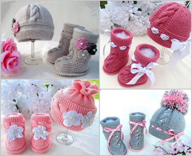 Diy Cable Knit Baby Hat And Booties Patterns