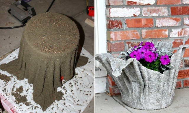Diy concrete towel planter pot video for How to make designs in concrete