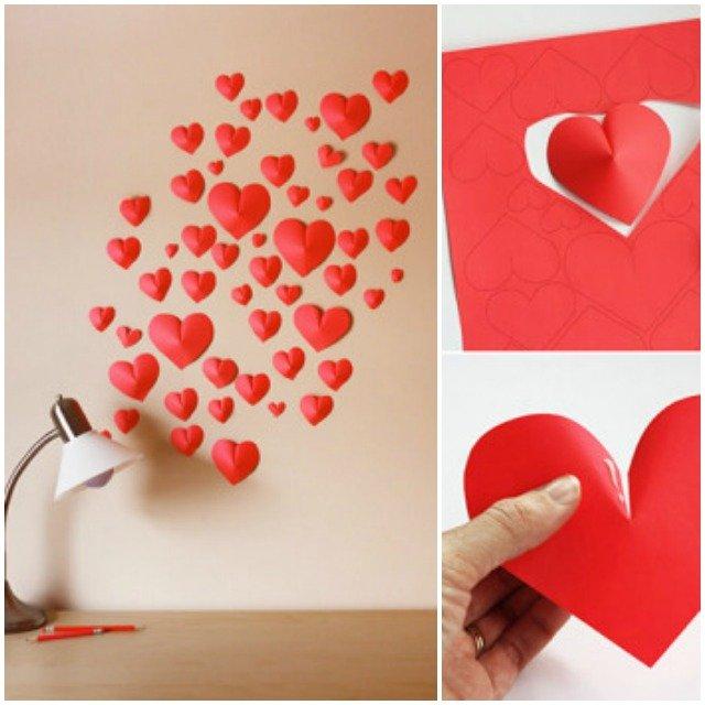 DIY Χαρτί 3D καρδιές του Αγίου Βαλεντίνου Εύκολη Crafts