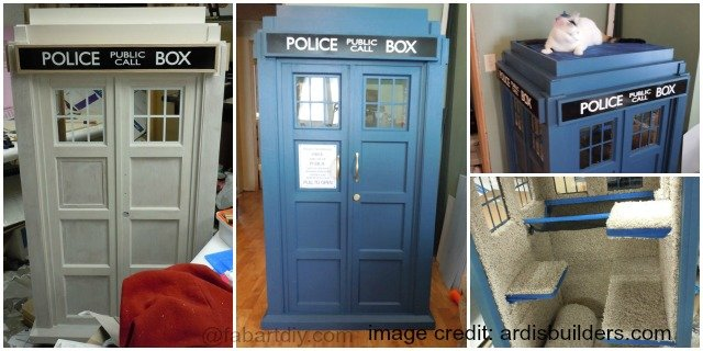 DIY TARDIS Cat Fort Playhouse Free Plan