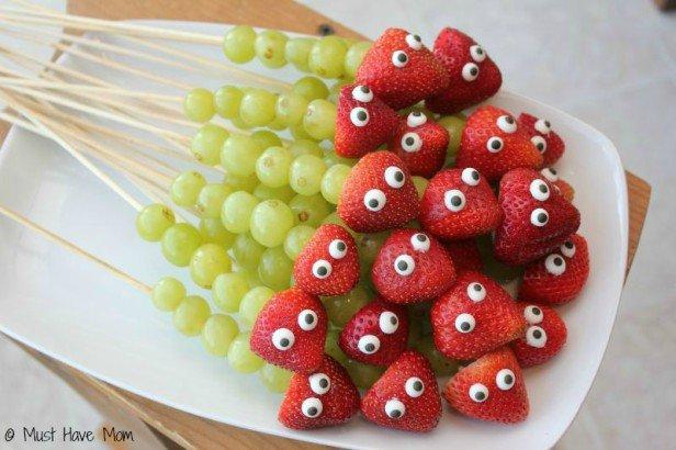 15 Fun Fruit Serving Ideas for Kids Party-DIY Caterpillar Fruit Kabob