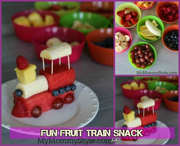 15 Fun Fruit Serving Ideas for Kids Party-DIY Fruit Train Snack