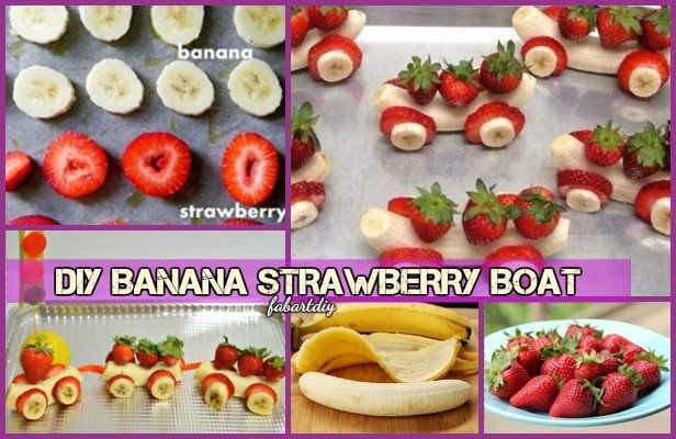 15 Fun Fruit Serving Ideas for Kids Party-DIY Strawberry Banana Boat