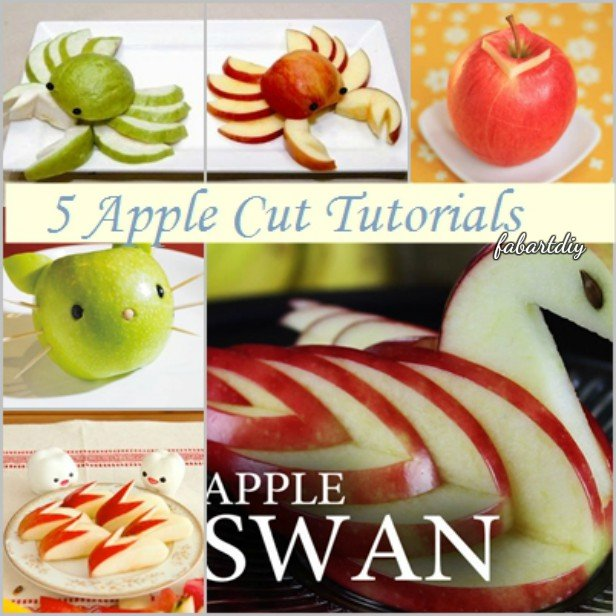 15 Fun Fruit Serving Ideas for Kids Party-DIY Apple Swan, Apple Crab, Bunny