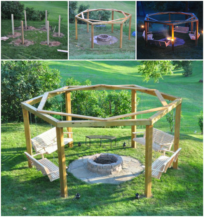 DIY Porch-Swing Fire Pit Tutorial - DIY Pergola Firepit Swings Tutorial
