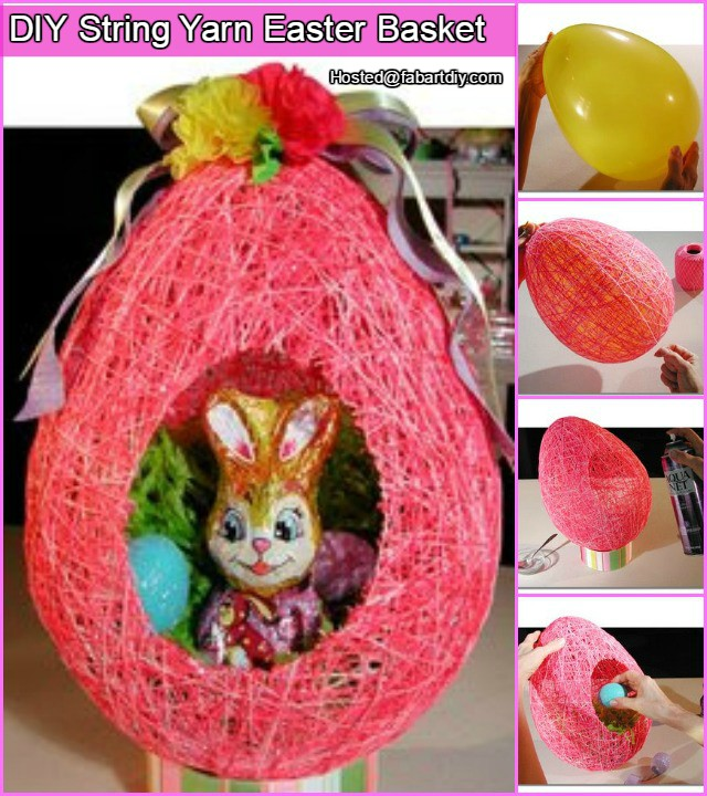 diy string yarn easter basket