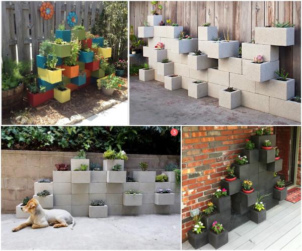 10 Amazing Cinder Block DIY Ideas and Projects--concrete cinder block vertical garden planter