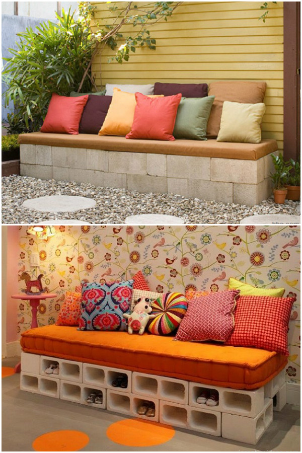10 Amazing Cinder Block DIY Ideas and Projects-concrete block sofa