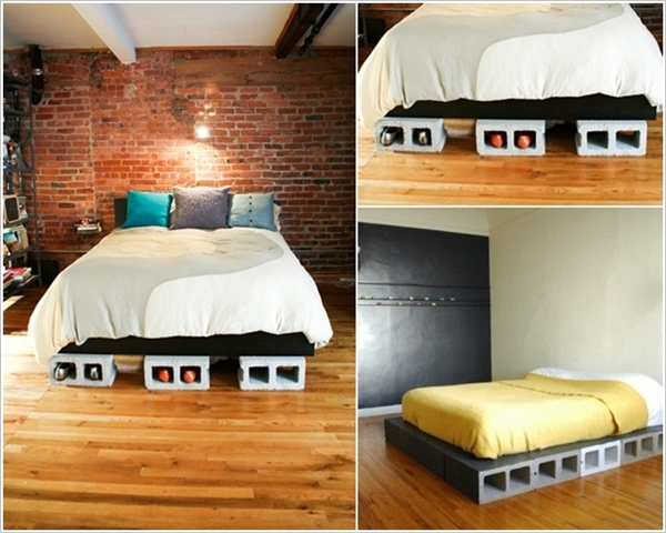 10 Amazing Cinder Block DIY Ideas and Projects-concrete cinder block bed