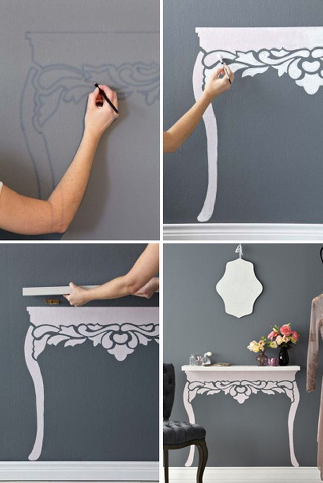 10 Low Budget DIY Home Decoration Projects-Turn An Ordinary Floating Shelf to Elegant Antique-style Table.