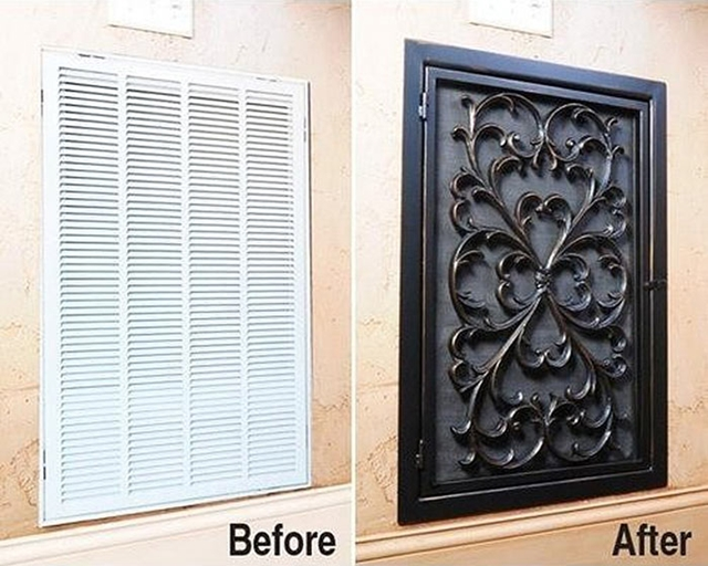10 Low Budget DIY Home Decoration Projects-Cover up an unsightly air vent with a rubber doormat.