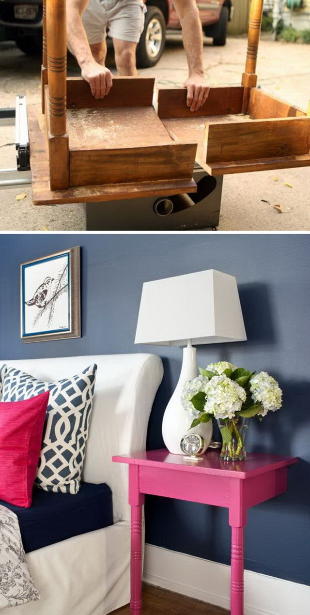 10 Low Budget DIY Home Decoration Projects-Cut old Table into 2 Stylish and Useful Nightstands