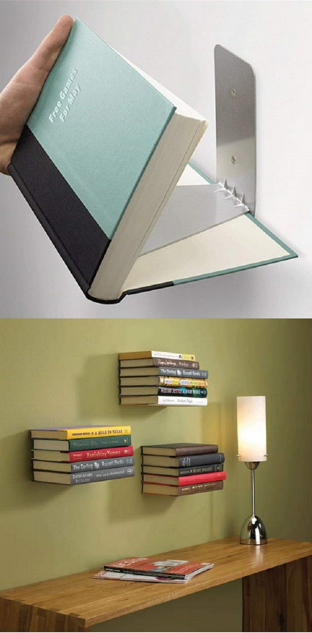 10 Low Budget DIY Home Decoration Projects-DIY Floating Book Shelves out of Books