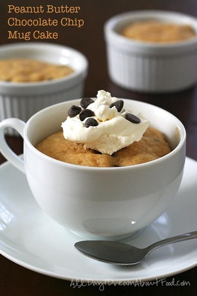 20 DIY Mug Cakes Recipes to Start Your Day-Peanut Butter Chocolate Chip Mug Cakes