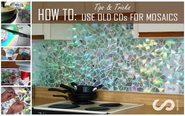 5 DIY Kitchen Backsplashes -DIY CD Mosaic Kitchen Backsplash