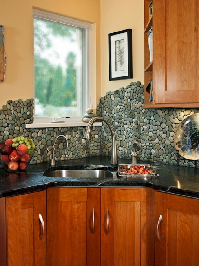 5 DIY Kitchen Backsplashes -DIY Pebble Mosaic Kitchen Backsplash
