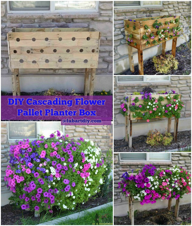 DIY Cascading Flower Pallet Planter Box