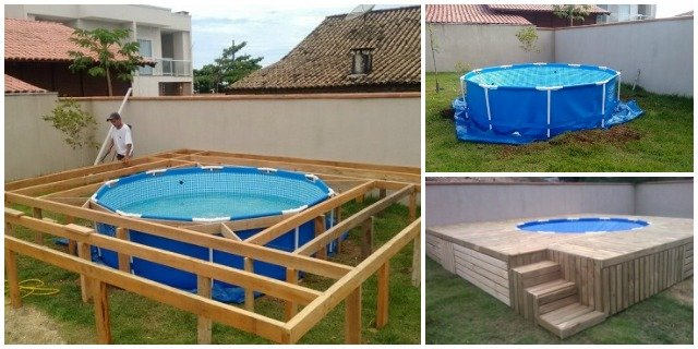 DIY Outdoor Floating Swimming Pool Deck