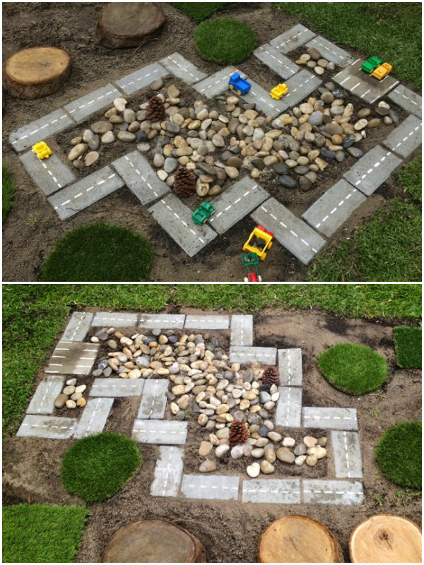 diy outdoor race car track with cinder bricks and rocks tutorial