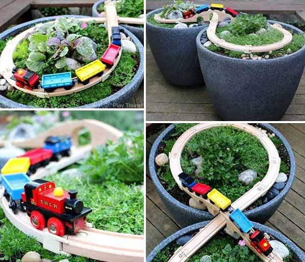 DIY Wooden Train Garden Railway-DIY Outdoor Race Car Track Tutorials