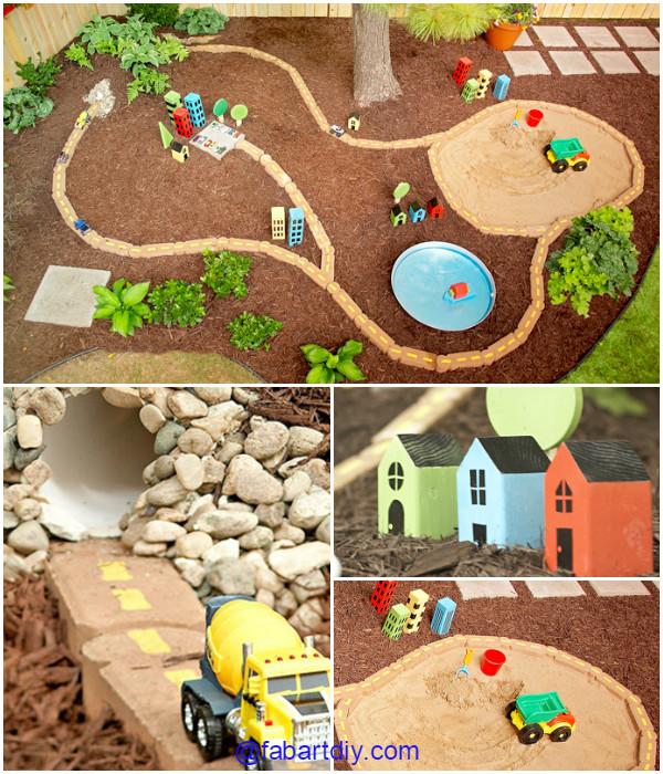 diy outdoor race car track play area tutorial