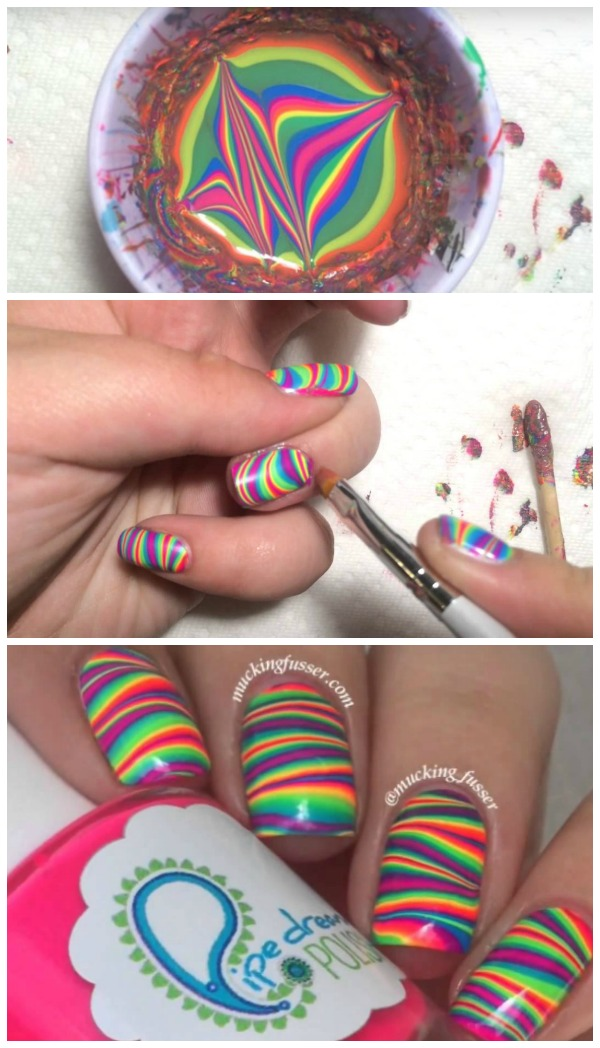DIY Striped Rainbow Water Marble Nail Art