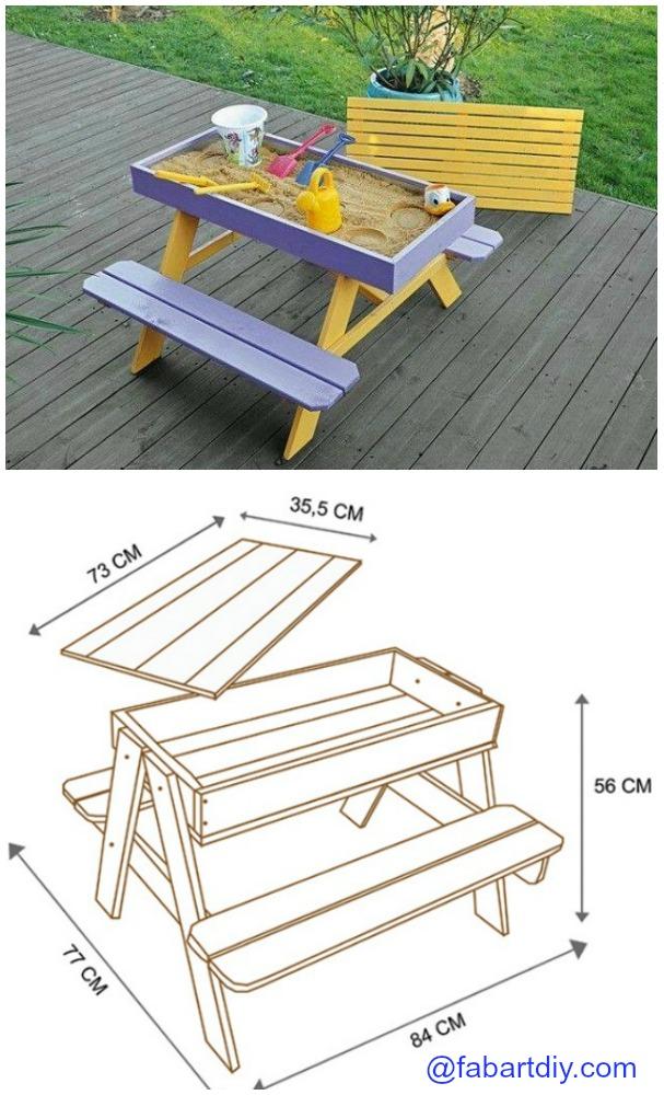 diy sandbox picnic table plan - Sandbox Design Ideas