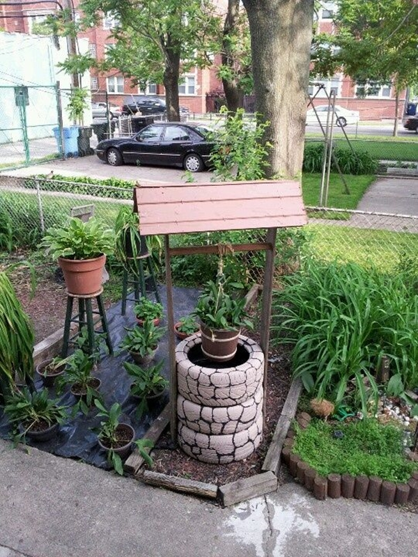 Diy tire wishing well planters tutorials diy tire wishing well planters solutioingenieria Images