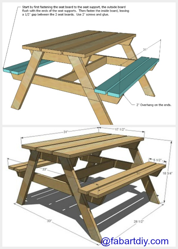 DIY Wood Picnic Table Plan
