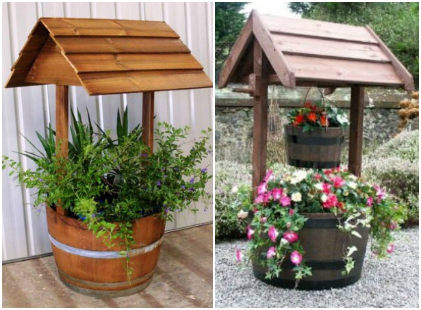 Wine Barrel Wishing Well Planters