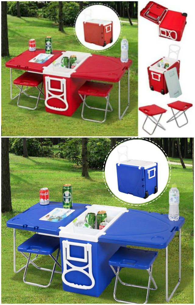10 Camping Tips and Gadgets You'll Love This Summer -Rolling Cooler With Picnic Table And Chairs