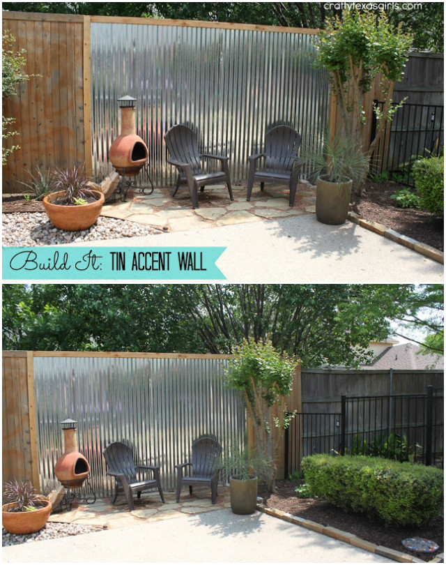 10 DIY Patio Privacy Screen Projects Free Plan-DIY Tin Accent Wall