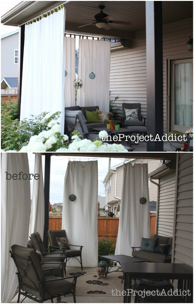 10 DIY Patio Privacy Screen Projects Free Plan   Draping Fabric Curtain Patio  Privacy Screen