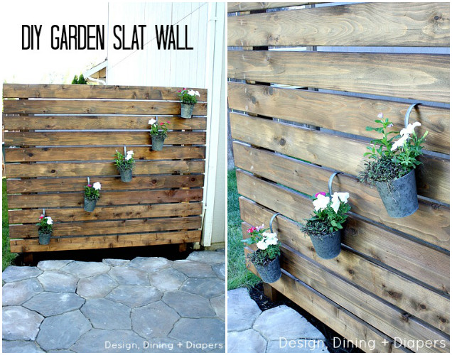 10 DIY Patio Privacy Screen Projects Free Plan-DIY Garden Slat Wall