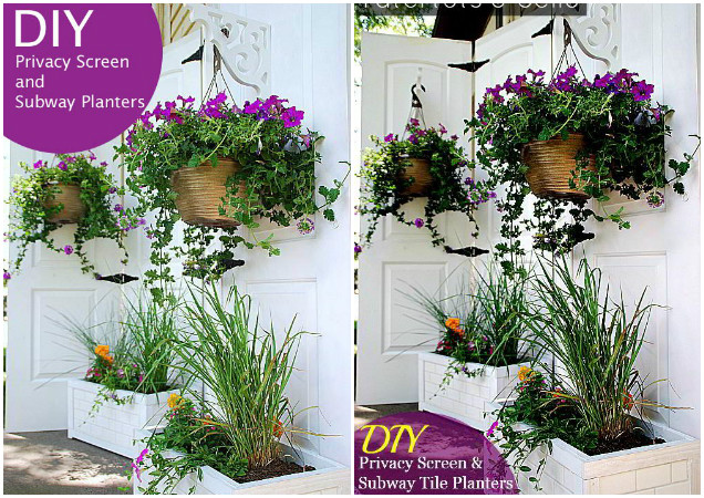 10 DIY Patio Privacy Screen Projects Free Plan-DIY Door Privacy Screen and Subway Tile Planter Boxes