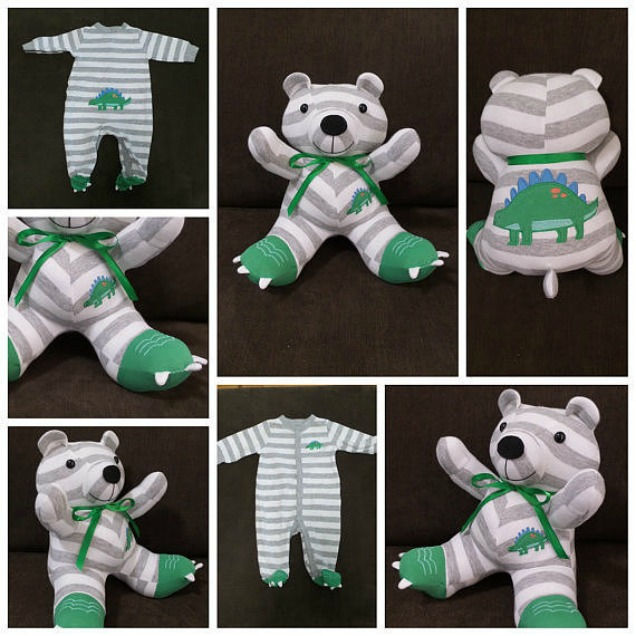 DIY Baby Clothes Teddy Bear Keepsake Stuffed Toy Tutorial