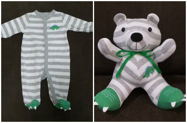 DIY Baby Onesie Clothes Stuffed Keepsake Teddy Bear