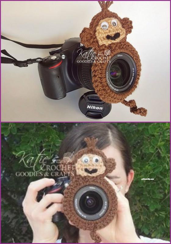 DIY Crochet Camera buddy Free Pattern-crochet monkey lens buddy