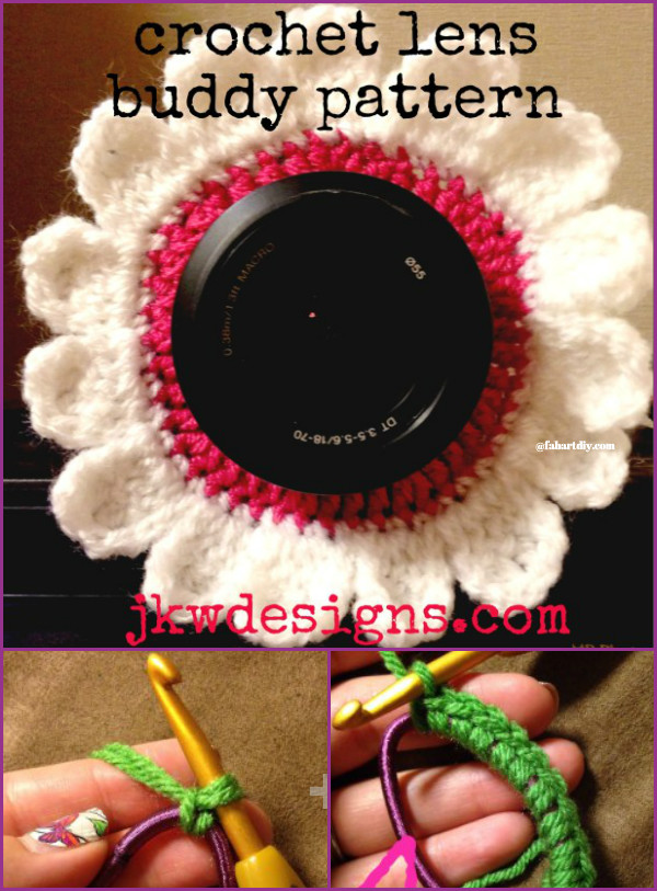 DIY Crochet Camera buddy Free Pattern Round Up - crochet flower lens buddy