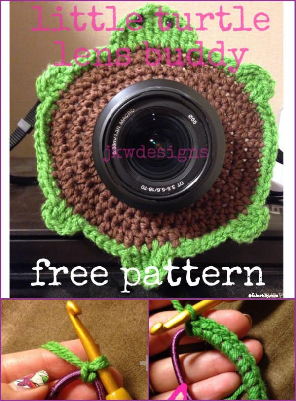 DIY Crochet Camera buddy Free Pattern Round Up - crochet turtle lens buddy