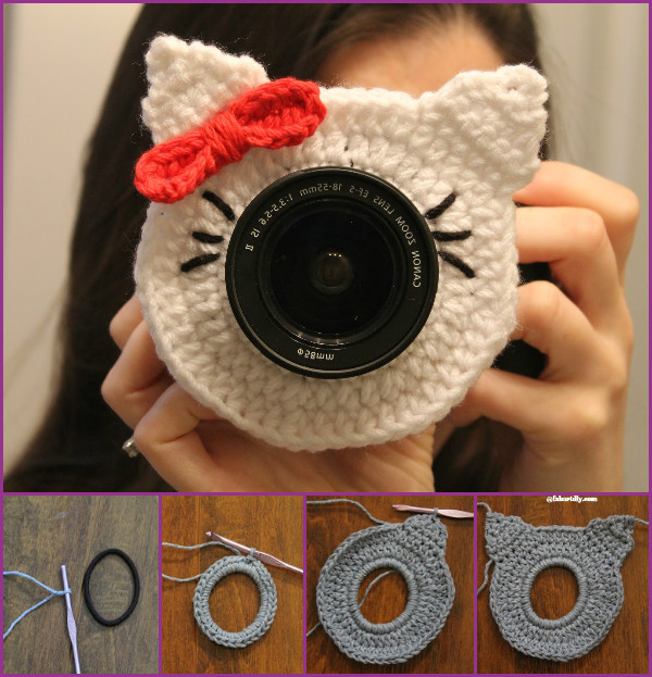 DIY Crochet Camera buddy Free Pattern Round Up - crochet hello kitty lens buddy