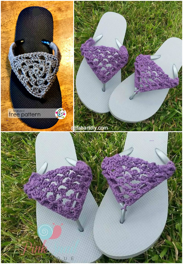 DIY Crochet Slipper with Flip Flop Sole Pattern Free