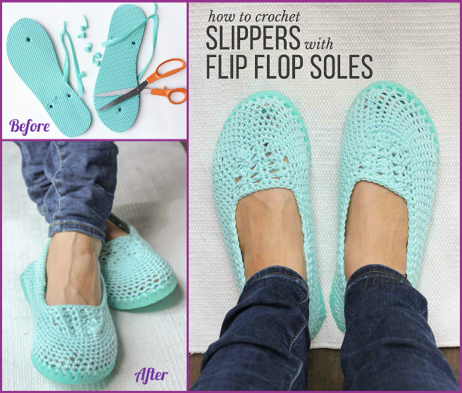 f8420fe0b DIY Crochet Slipper with Flip Flop Sole Pattern Free Tutorial