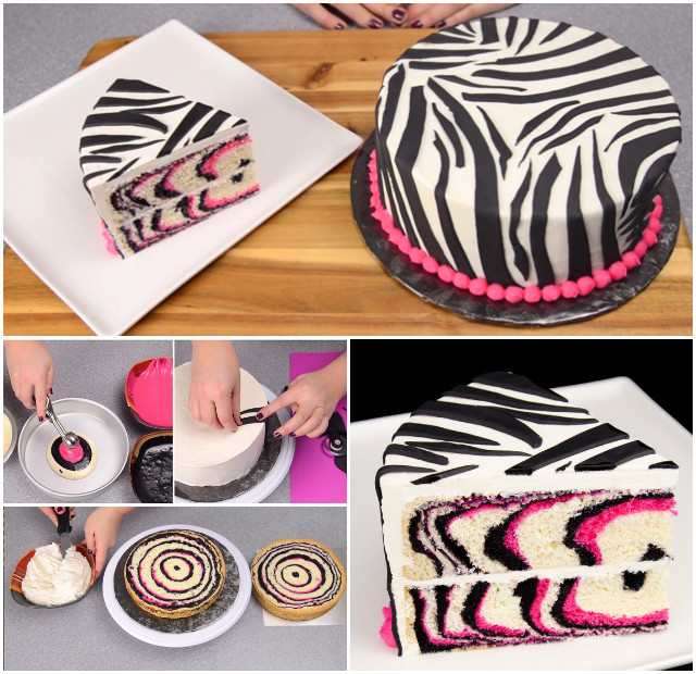 DIY Pink Black Zebra Cake Recipe