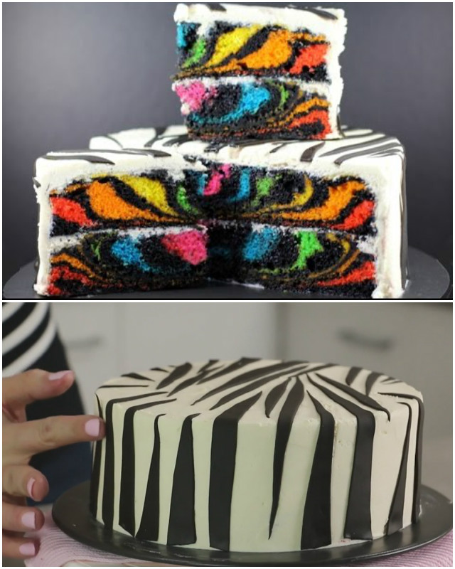 DIY Rainbow Zebra Cake Recipe